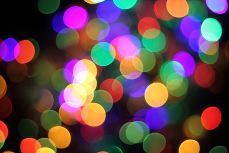Christmas Tree From The Color Xmas Lights Stock Photo Picture And