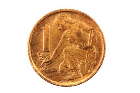 koruna: old czech crown (czech coin - 1 koruna) isolated on the white background