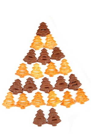 keywords background: cookies (christmas tree shape) isolated on the white background