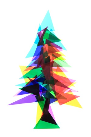 plastic christmas tree: christmas tree from color plastic triangles isolated on the white background