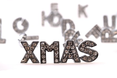 diamond letters: xmas (diamond letters) isolated on the white background