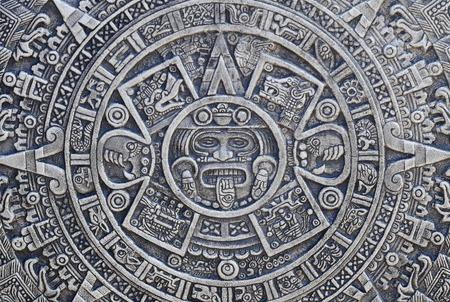 좋은 돌을 배경으로 아즈텍의 역사 텍스처 스톡 콘텐츠