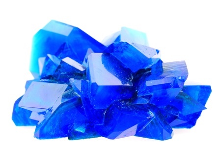 sulfate: blue vitriol mineral isolated on the white background Stock Photo