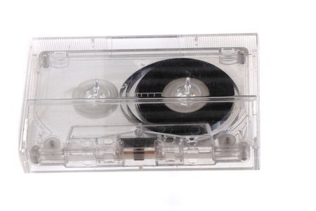 audio cassette: old audio cassette isolated on the white background Stock Photo