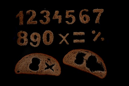 orthographic symbol: bread alphabet isolated on the black background