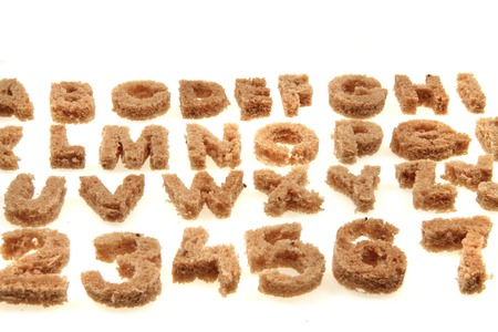 bread alphabet isolated on the white background photo