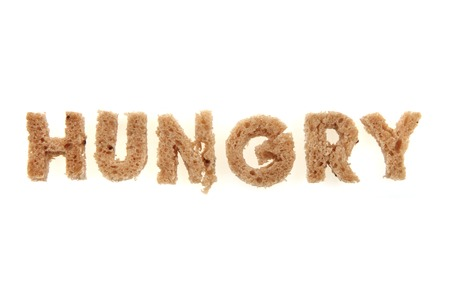 orthographic symbol: hungry from bread alphabet isolated on the white background