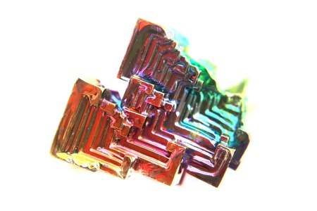 bismuth: color bismuth crystal isolated on the white background