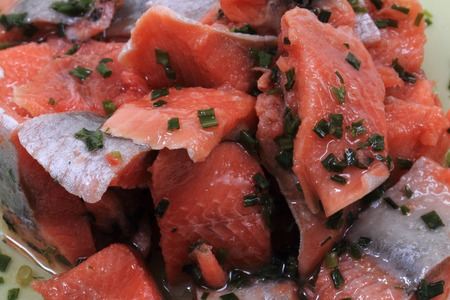 nice food: salmon fish with green herbs as nice food background Фото со стока