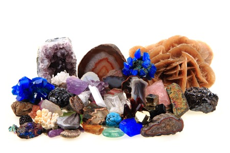 color minerals and gems collection isolated on the white background