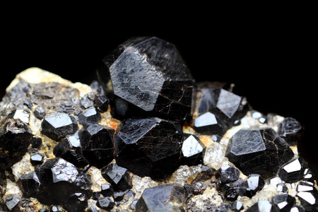 black pyrope as nice natural mineral background photo