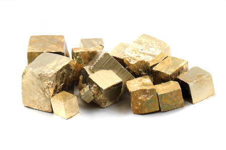 pyrite: pyrite cubes isolated on the white background