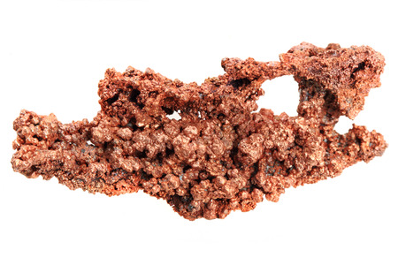 mineralogy: natural copper isolated on the white background