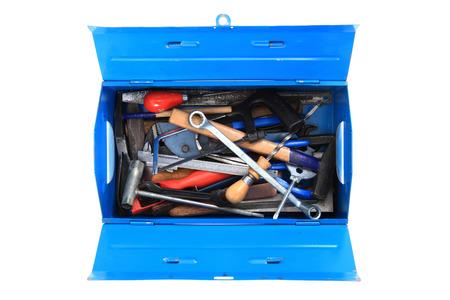 herramientas de mec�nica: herramientas mec�nicas en el cuadro aislado en el fondo blanco