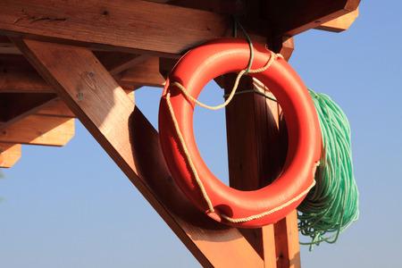 beach buoy: life buoy on the beach with the blue sky