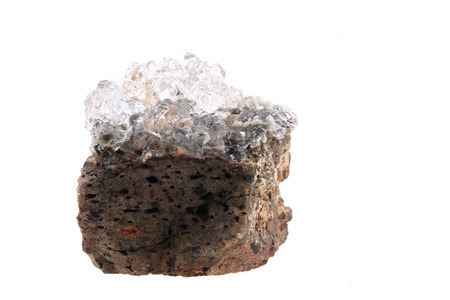 mineralogy: hyalite mineral isolated on the white background