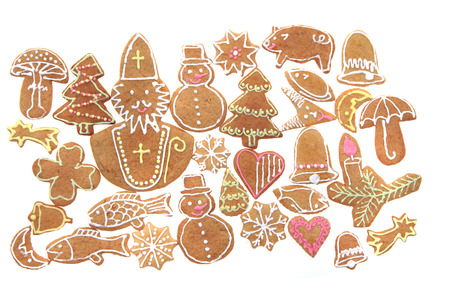 sweet background: christmas ginger bread isolated on the white background Stock Photo
