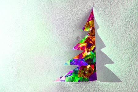 plastic christmas tree: christmas paper tree with color plastic diamonds