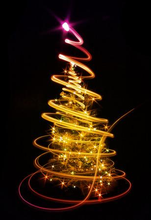 xmas background: xmas tree (lights) on the black background