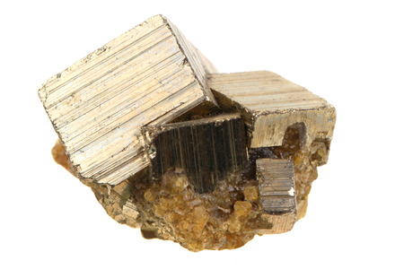 mineralogy: golden pyrite mineral isolated on the white background Stock Photo