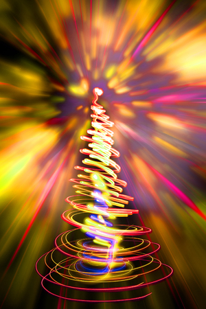 xmas background: xmas tree (lights) on the color background