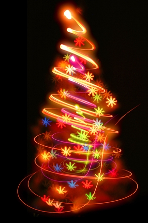xmas background: xmas tree (lights) on the black background
