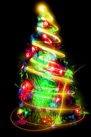 xmas background: christmas tree from the lights as nice xmas background