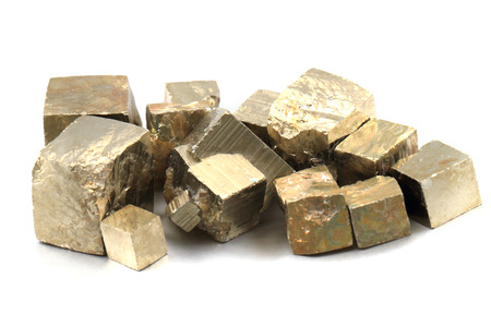 pyrite: golden cubes (pyrite mineral) isolated on the white background