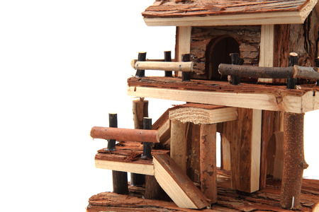 wooden toy: natural wooden house toy isolated on the white background