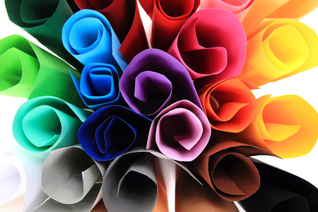 paper sheets: color paper rolls isolated on the white background Stock Photo