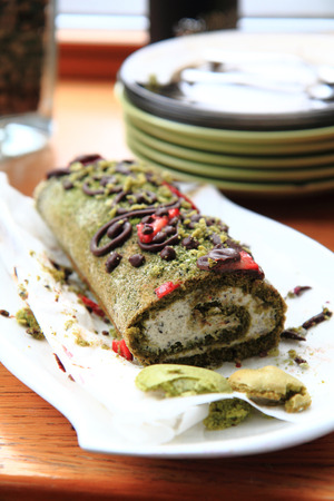 roulade: pistachio roulade dessert as very nice food background