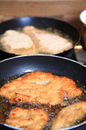 nice food: preparing czech chicken schnitzel as nice food background