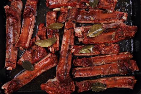 nice food: копченые свиные ребра, как очень хороший фон пищи