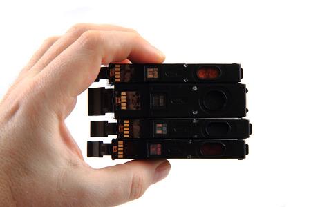 toner: ink toner cartridges isolated on the white background Stock Photo