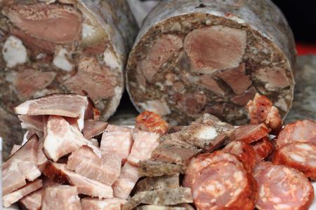 nice food: свинья и холодец другое мясо, как приятный фон пищи