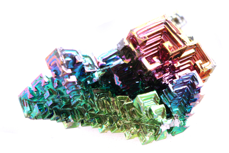 bismuth: Bismuth - rainbow metal isolated on the white background