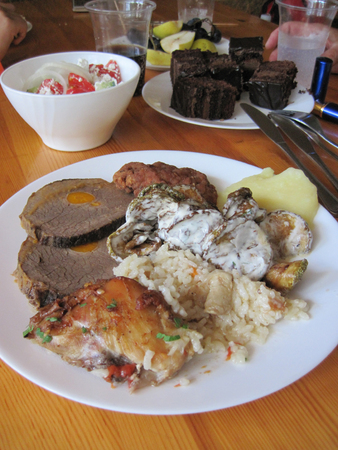 nice food: beef meat with carrot and rice as nice food background