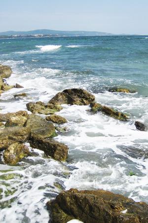 bulgarian: blue bulgarian sea waves (near small city kitten) Stock Photo