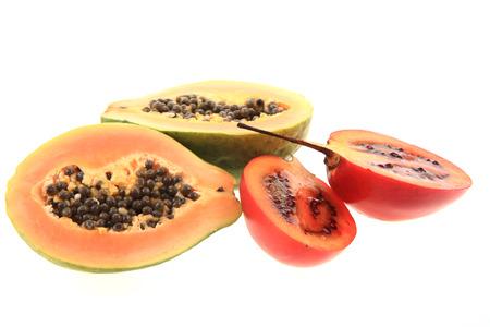 papaw: exotic fruits isolated on the white background