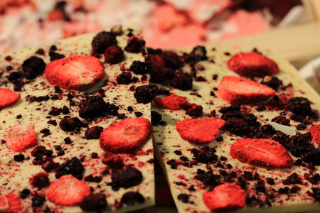 nice food: white chocolate with strawberries as very nice food background