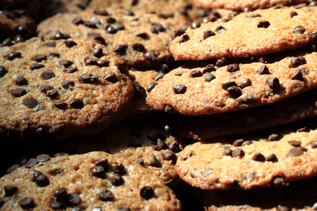 nice food: chocolate cookies as very nice food background Фото со стока