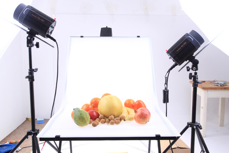 papaw: exotic fruits on the photo table in the studio