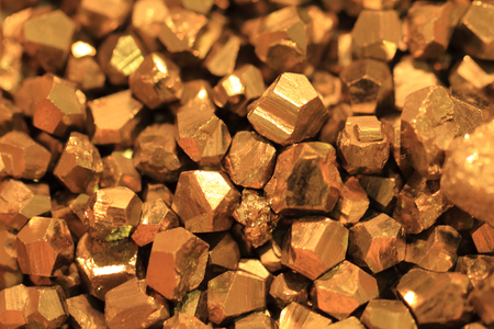 pyrite: pyrite mineral collection as very nice golden texture Stock Photo