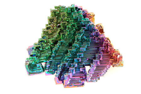 bismuth: Bismuth - rainbow metal mineral isolated on the white background