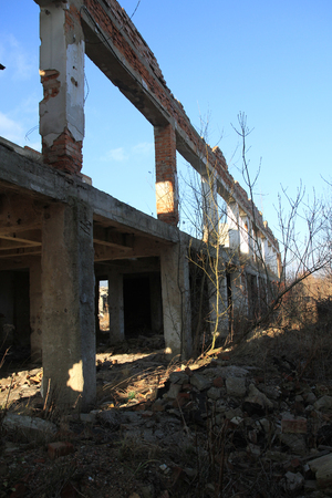 urban decline: ruins of old factory as old industrial architecture