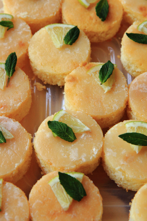 nice food: lemon dessert with mint as nice food background