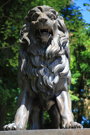 hydrotherapy: Jesenik,Czech Republic-July 19,2016: statue - Lion,It is worlds first hydrotherapy institute.