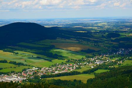jeseniky mountains landscape from watchtower named zlaty chlum