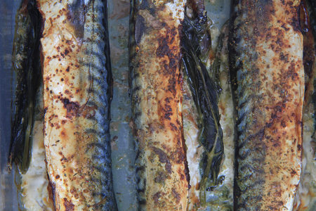 nice food: grilled mackerel fishes as nice food background
