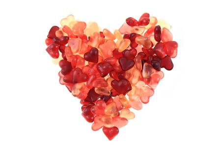jelly candy hearts as big heart isolated on the white background Stock Photo